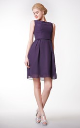 Bateau Neck Short A-line Chiffon Dress Simple Style