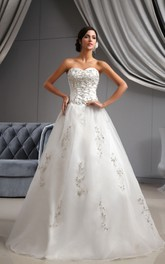 Sweetheart A-Line Organza Dress With Embroidered Bodice