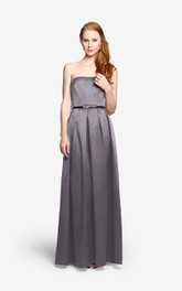 Satin Long Strapless A-Line Noble Dress