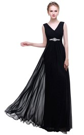 Black Empire V-neck Beaded A-line Chiffon Dress With Low-v Back