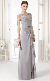 Sheath Long-Sleeve Floor-Length Beaded Bateau-Neck Chiffon Prom Dress