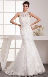 High-Neck Sleeveless Floor-Length Lace Sweep Train and Dress With Bow