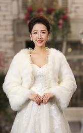 Bride Wedding Shawl Long-sleeved Coat Wedding Fur Warm White Autumn And Winter Models