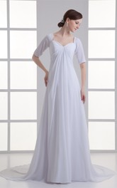 Mini-Sleeve Chiffon Floor-Length Empire Brush Train and Dress With Draping