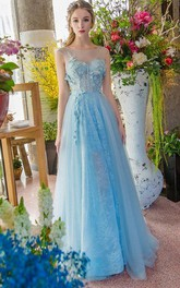 A-Line Bateau Appliques Beading Lace Sweep Train Prom Dress