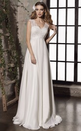 Sheath Keyhole Elegant Empire Lace Appliqued Bridal Gown With Corset Back