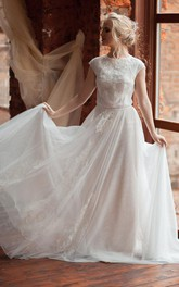 Scoop-Neck Cap-Sleeve Tulle Pleated Appliqued Dress With Illusion And Beading