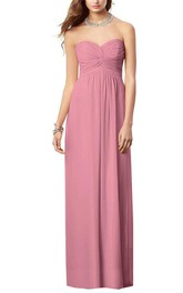 Sweetheart Ruched Floor-length Chiffon Dress