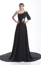 Flattering One Shoulder Pleated a Line Half Length Special Occasion Dresses