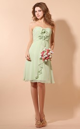 Ethereal Short Chiffon Dress With Ruching and Flower