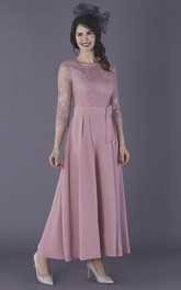 Elegant Chiffon 3/4 Illusion Sleeve Ankle Length Mother Of The Bride Dress