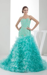 Sweetheart A-Line Ruffled Gown With Gemmed Bodice