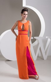 Two-Tone Floor-Length Front-Split Dress With Keyhole Design