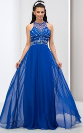 A-Line Jewel Neck Criss-Cross Back Beaded Prom Dress