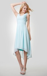 High-Low Chiffon Sleeveless V-Neck Dress With Ruching