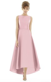 High-Low Jewel Sleeveless Satin Dress with V-Back and Ruching