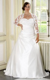 A-Line Floor-Length Sweetheart Long Sleeve Satin Sweep Train Side Draping Dress