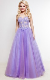 A-Line Floor-Length Sweep Sweetheart Sleeveless Tulle Lace Pleats Lace-Up Dress