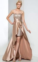 Sweetheart Sequins Asymmetry Prom Dress