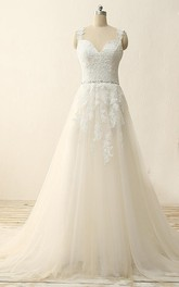 A-Line Tea-Length Straps Sweetheart V-Neck Sleeveless Beading Appliques Sweep Train Straps Tulle Lace Sequins Satin Dress