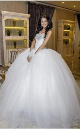 Glamorous Ball Gown Tulle Wedding Dress 2018 Crystals White Court Train