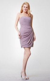 Sweetheart Draped Short Chiffon Dress With Ruching