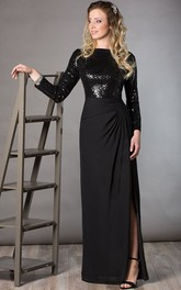 Bateau Long Sleeve Sequin Top Chiffon Long Mother Of The Bride Dress With Side Split