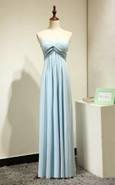 Sweetheart Pleated A-line Chiffon Floor Length Dress Mint Blue
