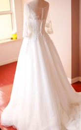 Organza A-Line 3-4 Sleeve Gown With Lace Appliques and Bateau Neck