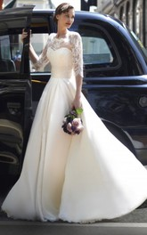 A-Line Half-Sleeve Long High Neck Tulle Wedding Dress With Lace