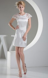 Caped-Sleeve Short Body-Fitting Dress With Appliques