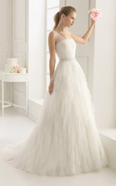 Stunning Top-Ruched Layered Gown With Beaded Tulle Straps