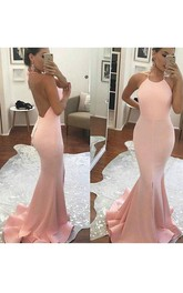 Mermaid Trumpet Satin Halter Sleeveless Open Back Deep-V Back Dress