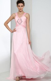 V-Neck Beading Criss-Cross Straps Prom Dress
