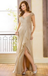 Cap-Sleeved V-Neck Long Gown With Side Slit And Ruffles