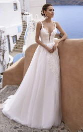 Sleeveless Plunging Tulle Straps Sexy Wedding Dress With Lace Details And Deep V-neck