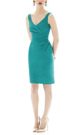 Bodycon V-neck Ruched Short Satin Dress