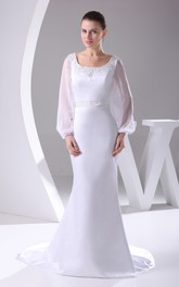 Square-Neck Beaded Mermaid Satin Dress With Long-Sleeve Design and Court Train
