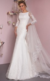 Mermaid Floor-Length Appliqued Scoop Neck 3-4 Sleeve Lace Wedding Dress