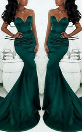 Gorgeous Sweetheart Mermaid Prom Dress 2018 Dark Green With Train