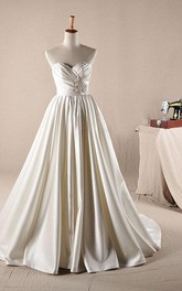 A-Line Ball Gown Maxi Sweetheart Beading Appliques Ruffles Lace Dress