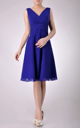 Knee-length V-Neckline A-line Chiffon Bridesmaid Dress With Low-V Back Style