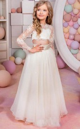 Flower Girl Two Piece Tulle Long Dress With Illusion Top