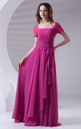 V-Neck Caped-Sleeve Floor-Length Lace Dress With Draping
