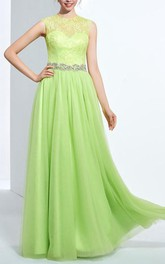 A-line Jewel Beading Button Lace Long Prom Dress