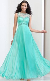 Sheer Neck Sequins Beading Open Back Prom Dresss