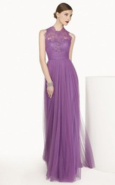Lace High Neck Sleeveless A-Line Tulle Long Prom Dress With Bandage