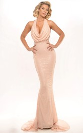 Sheath Sleeveless Sequined Floor-Length Cowl-Neck Prom Dress With Beading