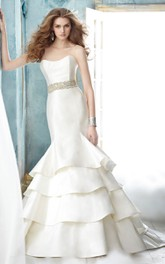 Stunning Strapless Tiered Dress With Crystal Embellished Belt
