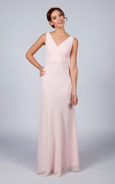 V Neck V Back A-line Chiffon Long Dress Blush